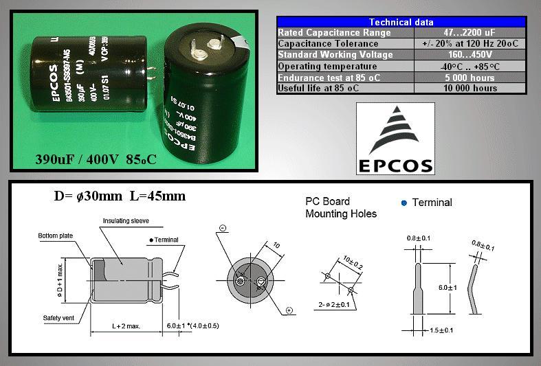 ELKO 390uF 400V 85°C 30x45 2p. Snap-In 390/400P 30X45