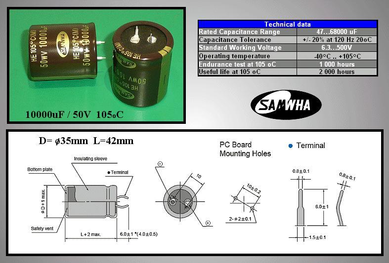 ELKO 10000uF 50V 105°C 35x40 Snap-in 10000/50P-105 S