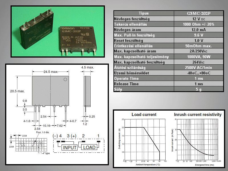 SSR 1x250V 2A 12VDC G3MC-202P RELAY-G3MC202P1 -