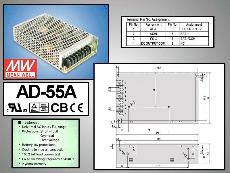 SMPS tápegység 88...264VAC 55W +13.8VDC 3.5A, +13.4VDC 0.23A P.SUP.AD-55A