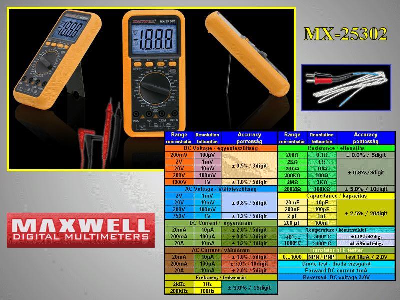 3.5Digit LCD Digital multimeter, 8-funkció M.M-MX-25302