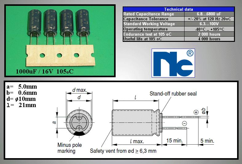 ELKO 1000uF 16V 105°C 10x20 Ultra Low-ESR álló 1000/16P-105NRS -