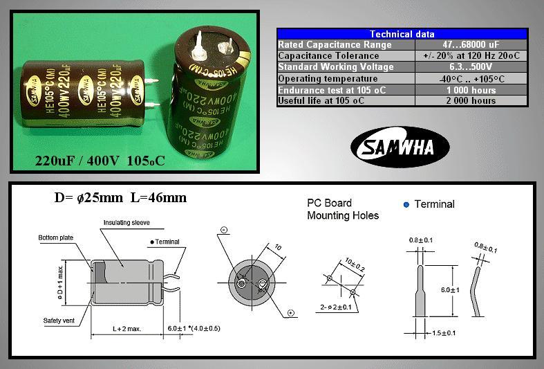 ELKO 220uF 400V 105°C 25x45 Snap-in 220/400P-105 S