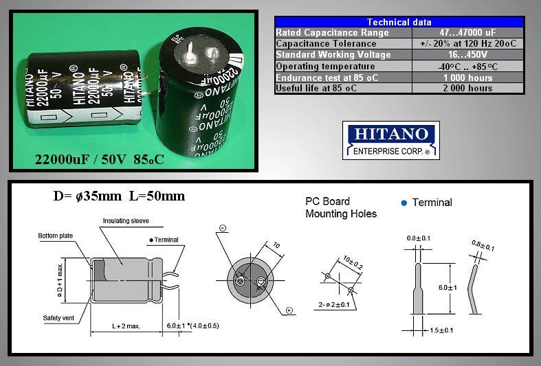 ELKO 22000uF 50V 85°C 35x50 Snap-in 22000/50P H -