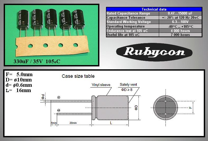 ELKO 330uF 35V 105°C 10x16 Low-ESR YXF 330/35P-105ESR R