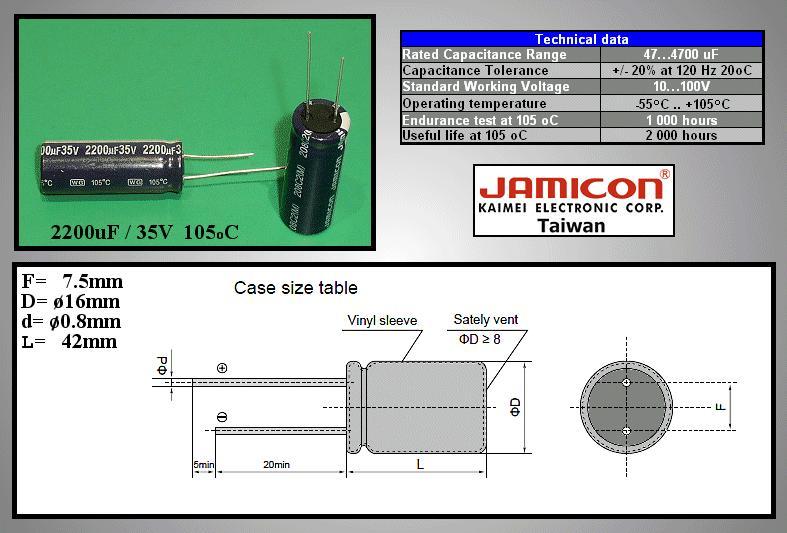 ELKO 2200uF 35V 105°C 16x42 Low-ESR 2200/35P-105ESR X