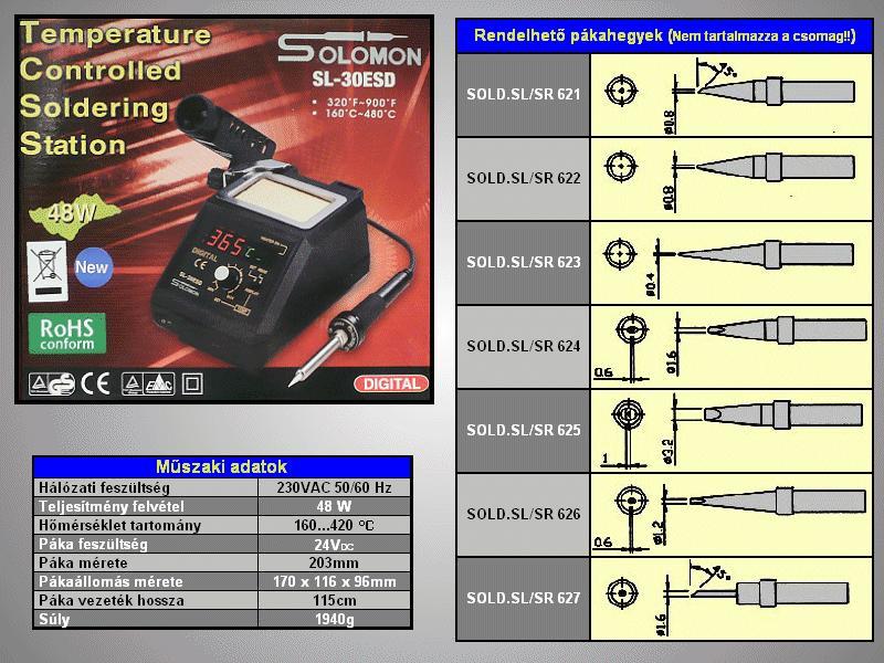 Forrasztópáka állomás 48W ESD (digitális) SOLD.SL30E-N