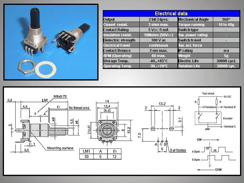 ENCODER 24 DET, 24PPR Vert. L:30mm EC12E2420803