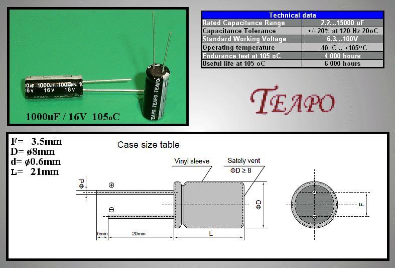 ELKO 1000uF 16V 105°C 8x20 Low-ESR SY 1000/16P-105ESR T