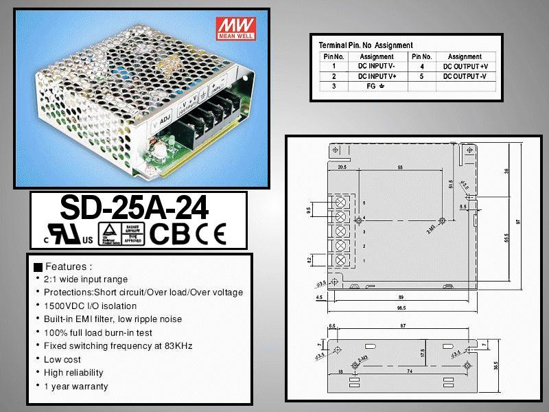 SMPS tápegység 9.2...18VDC 25W +24VDC 1.1A P.SUP.SD25A24
