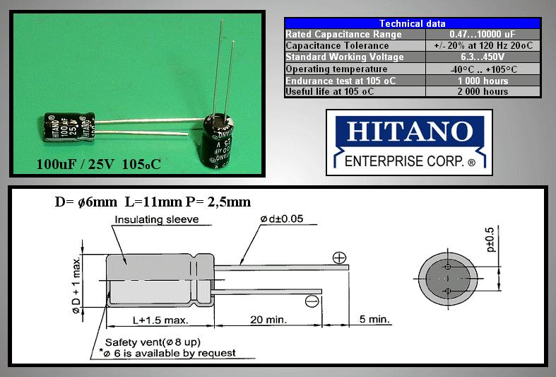 ELKO 100uF 25V 105°C 6.3x11 álló 100/25P-105 H -