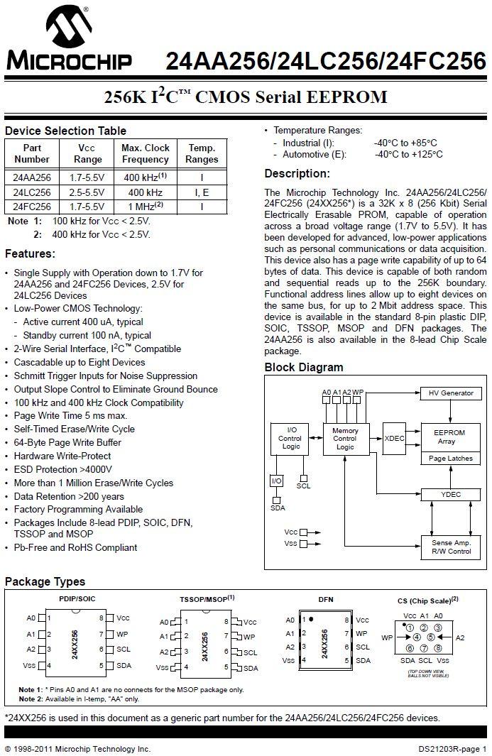 EEPROM 32Kx8 bit I2C bus 8p. 24FC256-I/P -