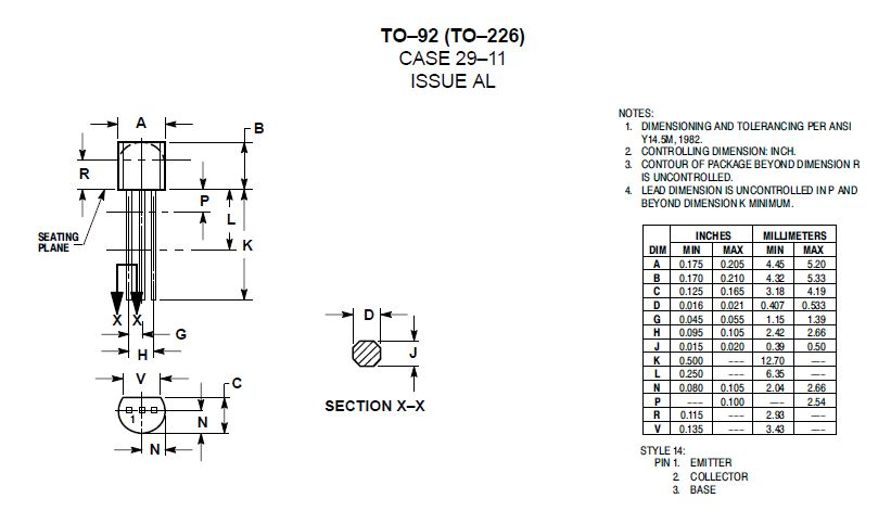 Tranzisztor NPN 40V/75V 0.6A 0.625W 300MHz hFE: 35-300 TO-92 2N2222AG 2N2222AG -