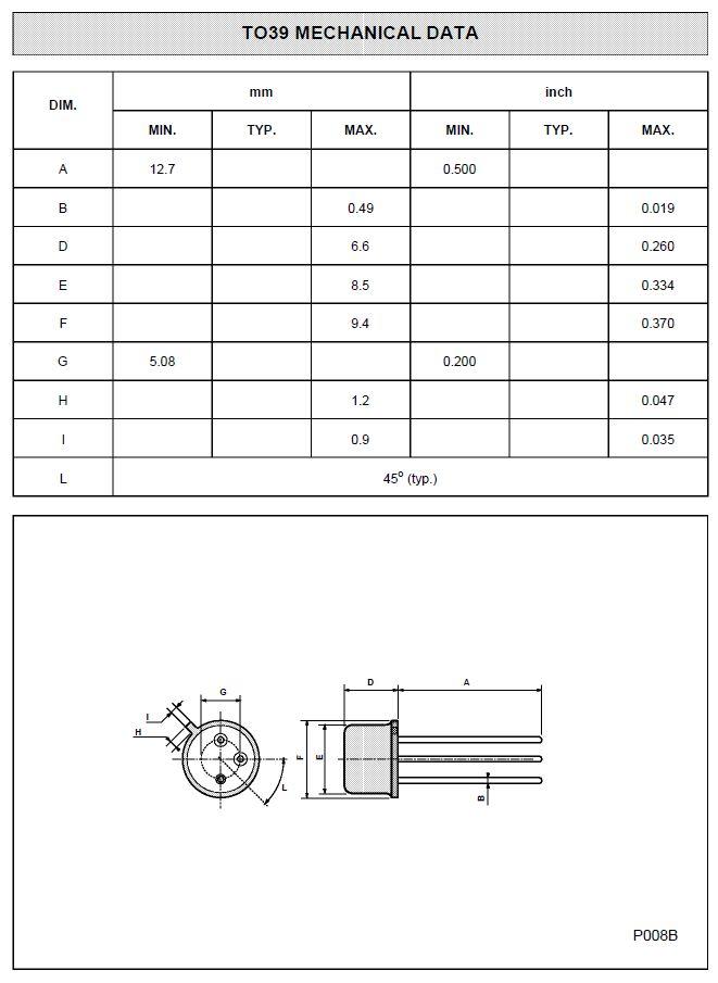 SI-N 450/350V 1A 1W 15MHz VID 2N3439 -