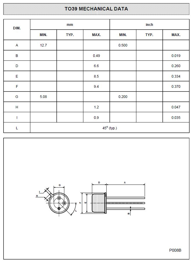 SI-P 90V 1A 1W <110/700nS NF/S 2N4036 -