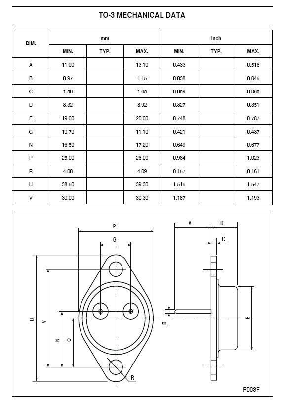 Tranzisztor PNP 60V 25A/50Ap 200W 4MHz NF/SL 2N5883 2N5883 -