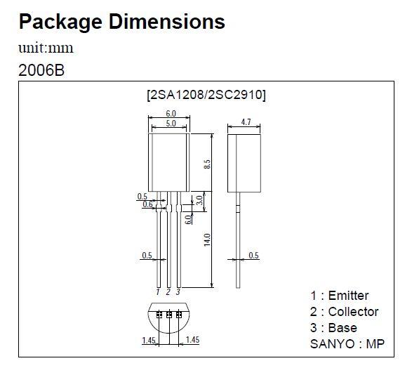 Tranzisztor PNP 180V/160V 0.07A 0.9W 150MHz TO-92M 2SA1208 2SA1208 -