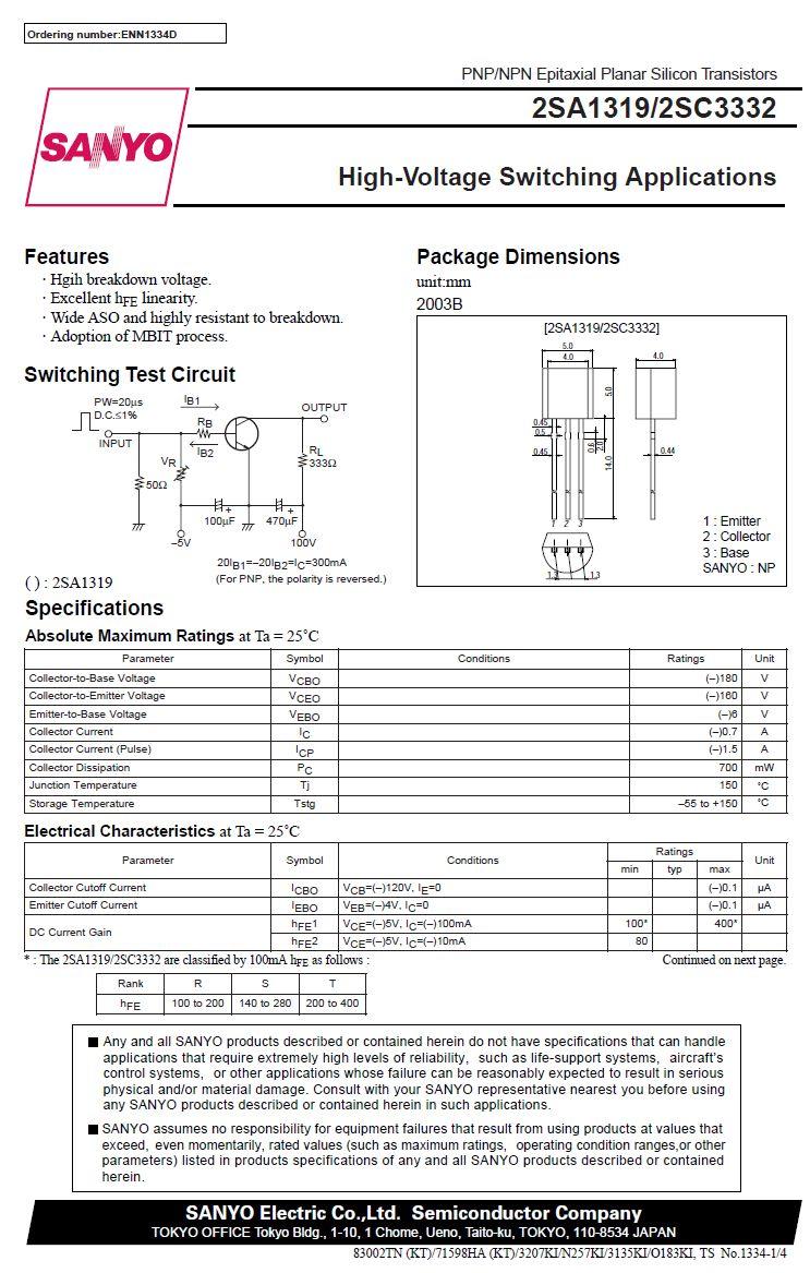 Tranzisztor PNP 180V 0.7A 0.7W 120MHz TO-92 2SA1319 2SA1319 -