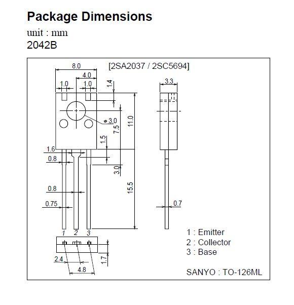 SI-P 120V 0.2A 8W 400MHz hFE: 100-200 2SA1538 -