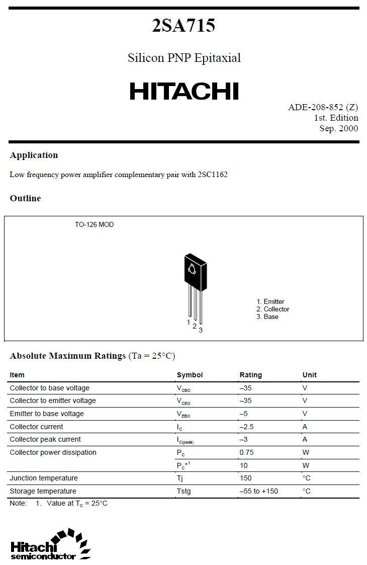 Tranzisztor PNP 35V 2.5A 10W 160MHz TO-126 2SA715 2SA715 -