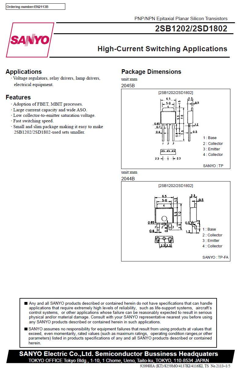 Tranzisztor PNP 60V 3A 15W 150MHz SL 2SB1202 2SB1202 -