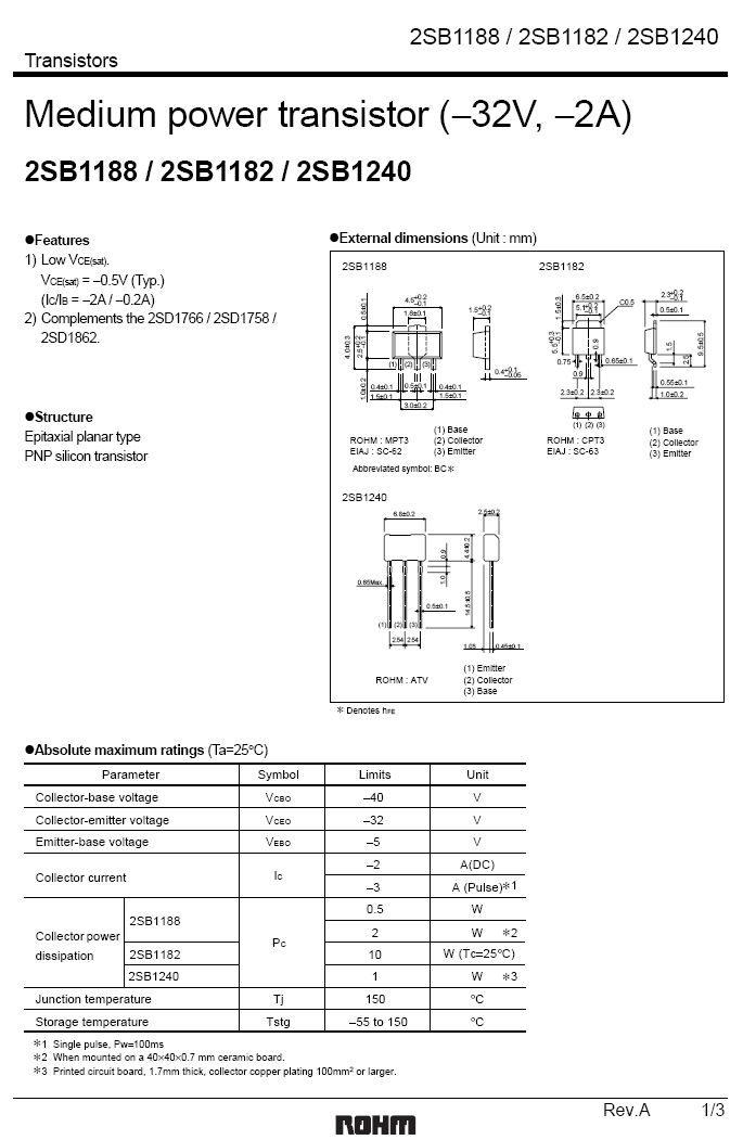 Tranzisztor PNP 40V 2A 1W 100MHz 2SB1240 2SB1240 -
