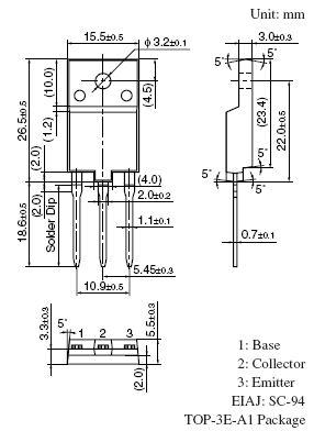 Tranzisztor PNP Darlington 160V 7A 70W 20MHz 2SB1254 2SB1254 -