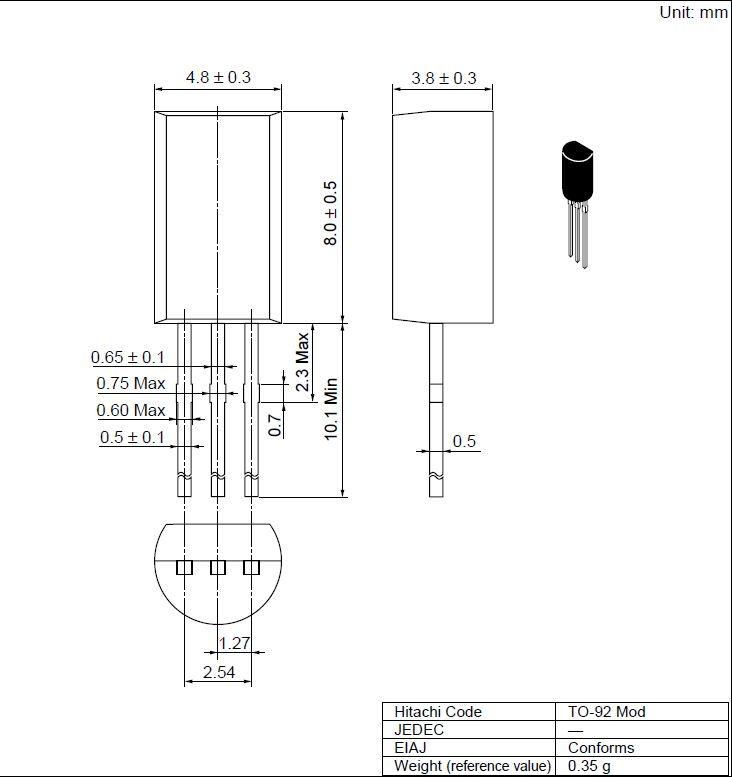Tranzisztor PNP 25/20V 1A 0.9W 350MHz TO92M 2SB562C 2SB562C -