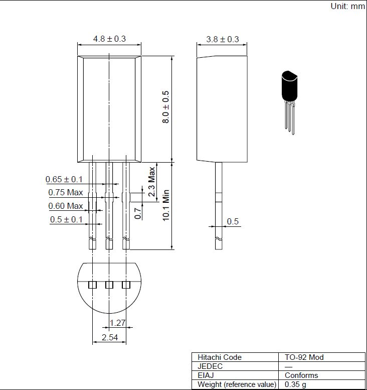 Tranzisztor PNP 120V 1A 0.9W 140MHz UNI 2SB647 2SB647 -