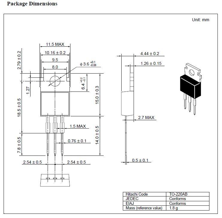 Tranzisztor PNP 200V 2A 30W hFE: 100-200 2SB861 2SB861 -