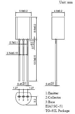 Tranzisztor NPN 60V 1A 1W 200MHz TO-92L 2SC1384 2SC1384 -