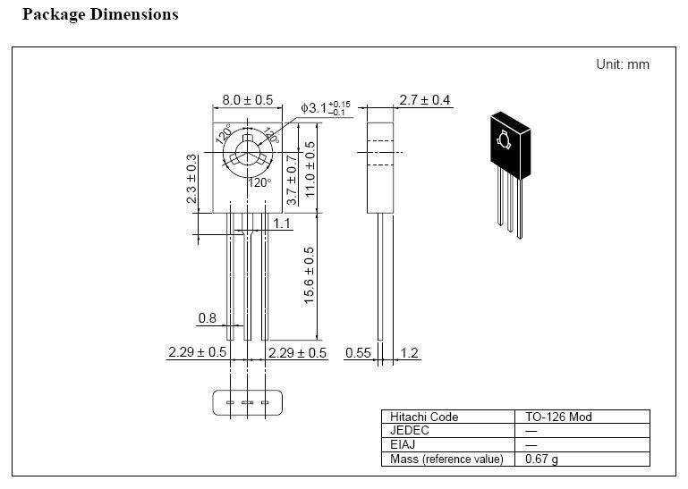 Tranzisztor NPN 300V 0.1A 1.25W 80MHz VID 2SC2611 2SC2611 -