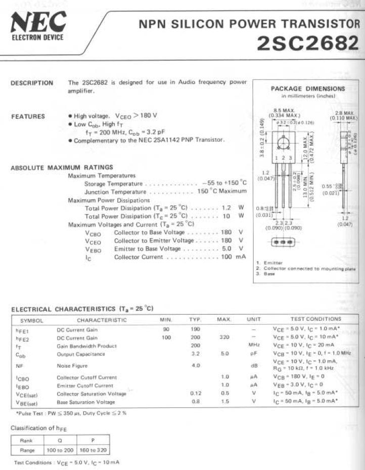 SI-N 180V 0.1A 8W 200MHz VID 2SC2682 -