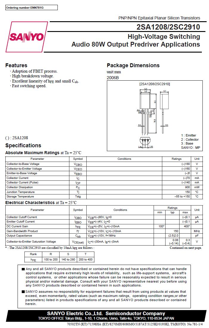 Tranzisztor NPN 180V/160V 0.07A 0.9W 150MHz TO-92M 2SC2910 2SC2910 -
