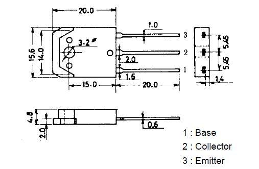 Tranzisztor NPN 1100/800V 6A/20A 100W 15MHz 2SC3460 2SC3460 -