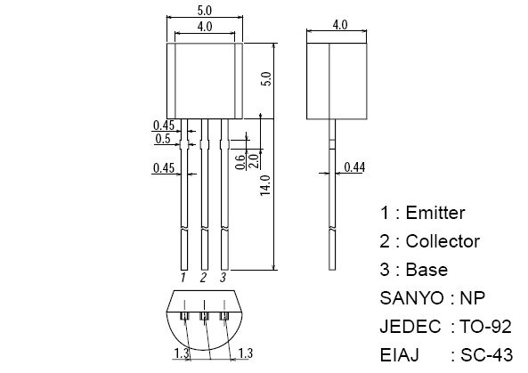 Tranzisztor NPN 400V 0.2A 0.6W 70MHz TO92 2SC4002E 2SC4002E -