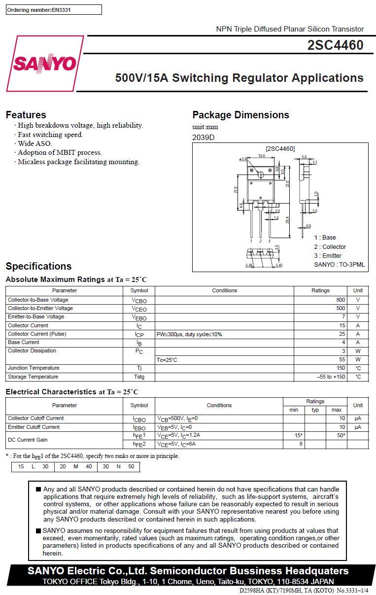 SI-N 800/500V 15A/25Ap. 55W 18Hz hFE:20-40 2SC4460M -
