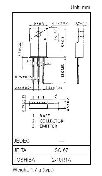 Tranzisztor NPN 1500/1200V 50mA 10W 5.5MHz 2SC4686A 2SC4686A -