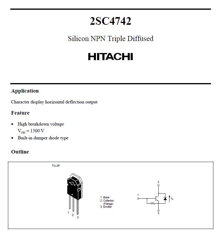 Tranzisztor NPN+DR 1500V 6A 50W Display-HA 2SC4742 2SC4742 -