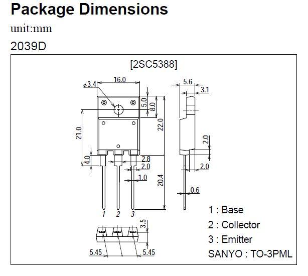 Tranzisztor NPN+DR 1500/800V 8A/16p. 60W 0.2uS TO-3PF 2SC5296 2SC5296 -
