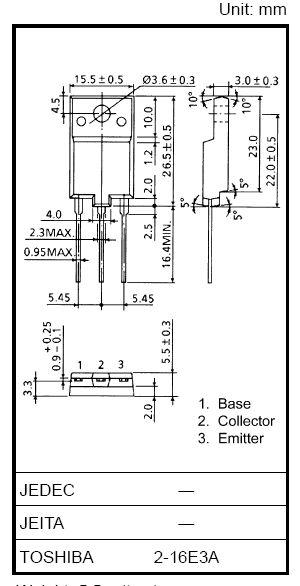 Tranzisztor NPN 1500/600V 8A/16Ap 50W 0.15uS 2SC5386 2SC5386 -