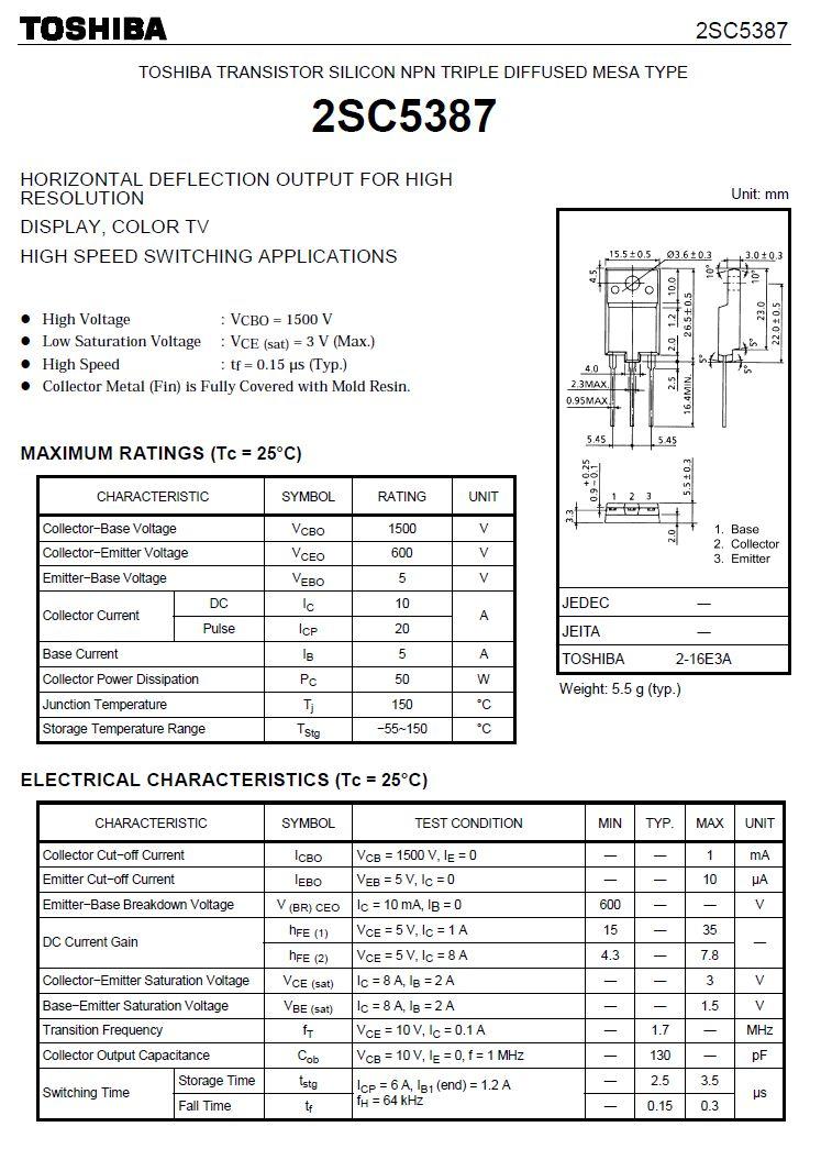 Tranzisztor NPN 1500/600V 10A/20Ap 50W 1.7MHz 2SC5387 2SC5387 -