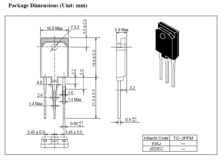 Tranzisztor NPN 1500/700V 12A/24Ap 50W 0.15us 2SC5449 2SC5449 -