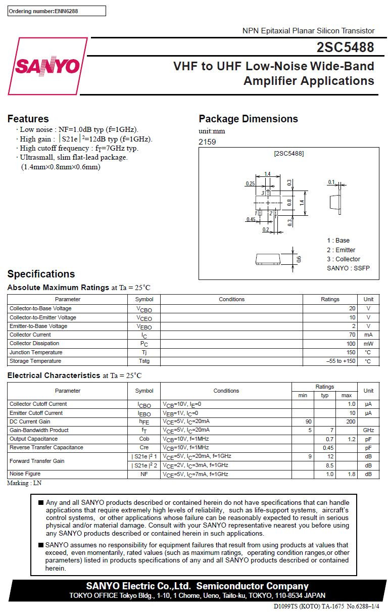 Tranzisztor NPN 20V 0.07A 7GHz 0.1W Cob: 0.7pF hFE: 90-200 2SC5488A 2SC5488A -