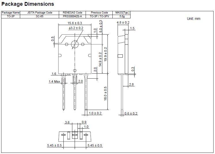 Tranzisztor NPN+DR 1500/800V 5A/16Ap 50W TV-HA 2SD1398-SAN 2SD1398-SAN -