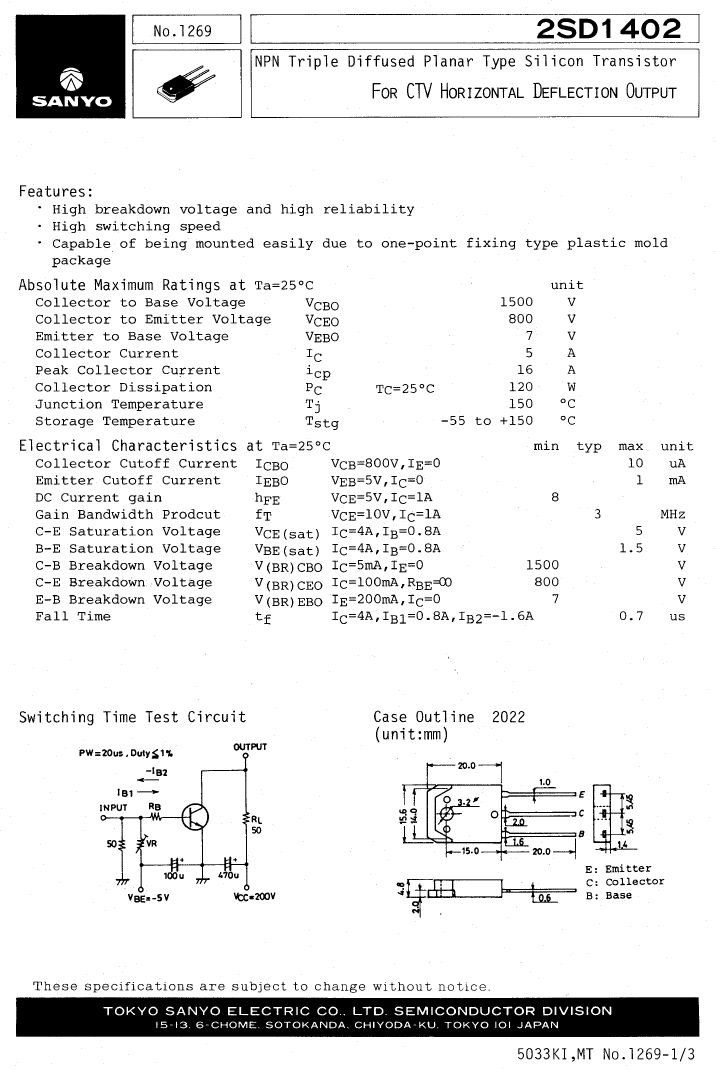 Tranzisztor NPN 1500/800V 5A 120W 0.7uS 2SD1402 2SD1402 -