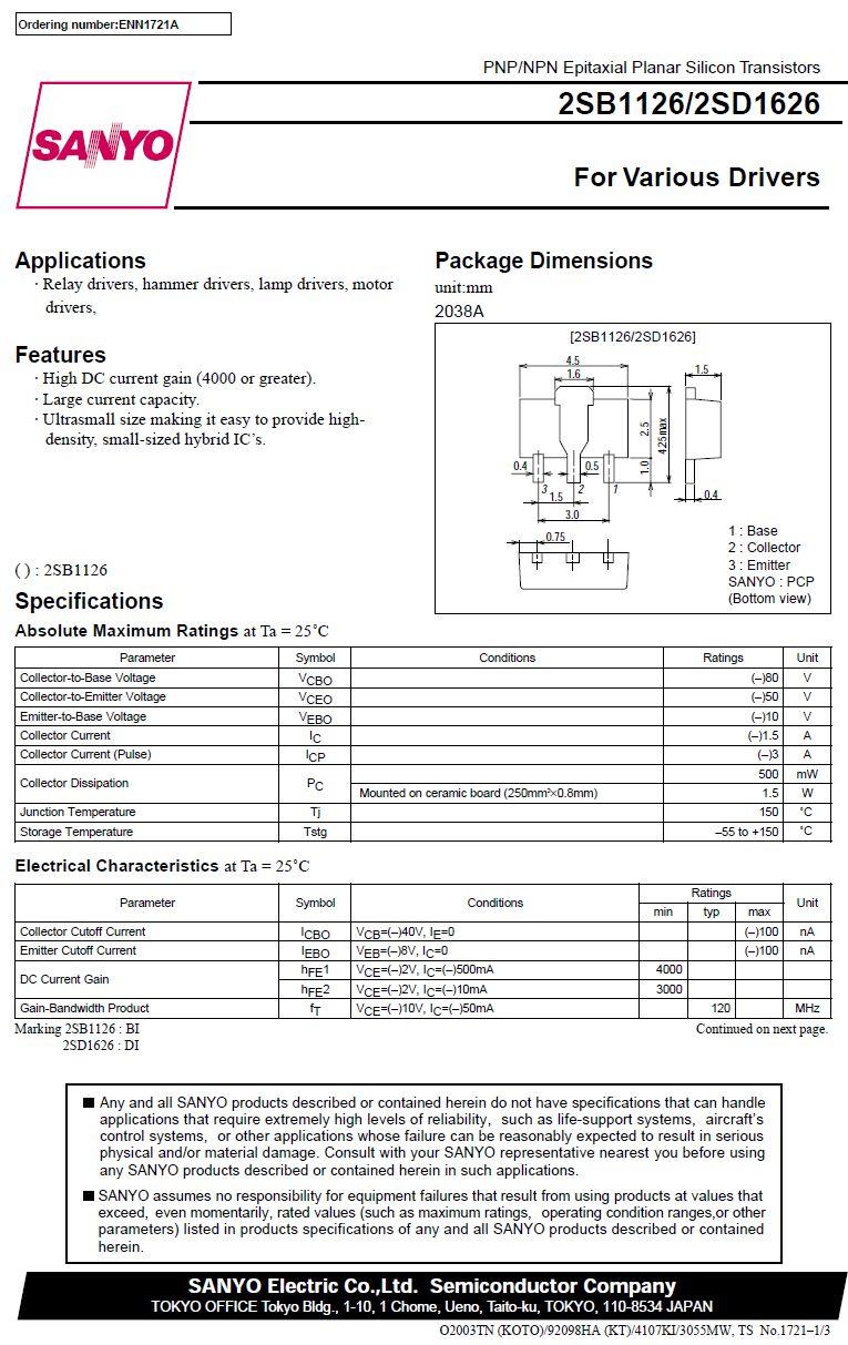 Tranzisztor NPN SMD 80V 1.5A 1.5W 120MHz 2SD1626 2SD1626 -