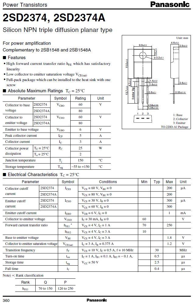 SI-N 60/60V 3A/5Ap. 25W 30MHz 2SD2374-P -