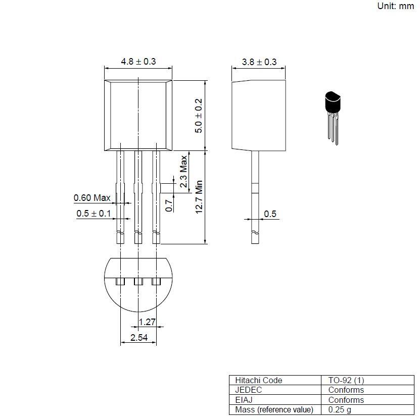 Tranzisztor NPN 25V 0.7A 0.5W 280MHz TO-92 2SD467C 2SD467C -