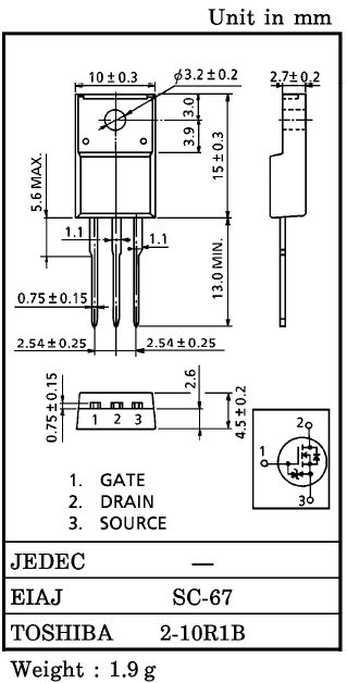 Tranzisztor P-MOSFET 200V 5A/20Ap 30W 0.8R 2SJ407 2SJ407 -